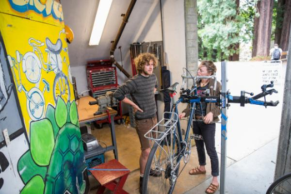Rory Baker and Emily McBride in the new home of the Bicycle Learning Center.